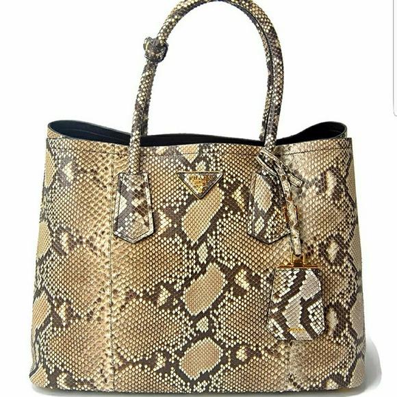 Prada Handbags - Prada XL Genuine Python Snake Skin Double Tote